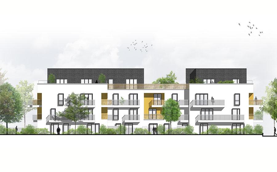 Yvelines - quartier du Trianon - Nov'age – avenue de la pépinière – résidence – appartements – immeuble – collectif – brique noire – brique grise - terrasses – logements sociaux – bailleur Arcade – quartier résidentiel mixte – label BBC - Effine - Carré d'Arch Architectes Associés
