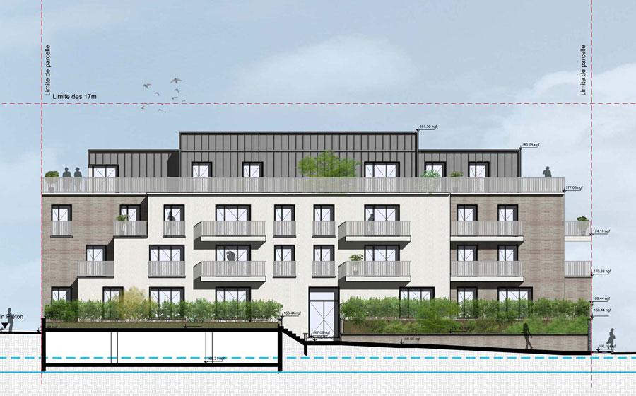 Canal – rigole des Clayes – résidence – paysage - Kaufman & Broad – brique – zinc – Jacques Tati – Charlie Chaplin - terrasses - Carré d'Arch Architectes Associés