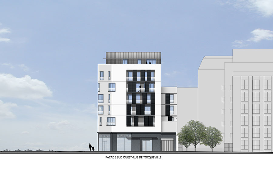 immeuble – logements – logement social – Bleecker - Fulton – démolition station service – label HQE – paris habitat – BBC – label – effinergie - Carré d'Arch Architectes Associés